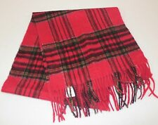 Red tartan plaid scarf pure cashmere New with tags men women unisex fringe