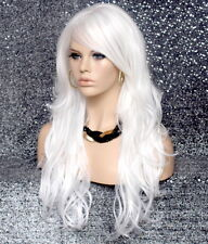 Human Hair Blend Full Wig Wavy White Long Bangs Heat OK Layered  NWT