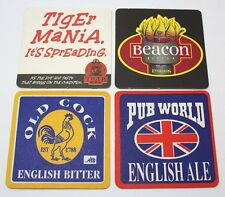 Coasters Lot Of 4 Beer Assorted Brewmania Square Old Cock,Tiger Mania Collectabl