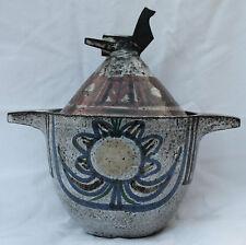 Très beau pot couvert JEAN DERVAL VALLAURIS  Signé Oiseau