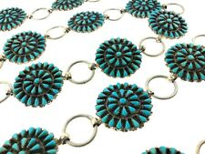 """Navajo Sterling Silver Turquoise Petit Point Round Link Concho 43"""" Belt"""