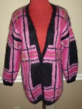 Oversize Plaid Mohair Cardigan Sweater Dark Pink Black Premier Collection PM
