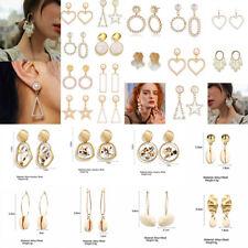 Women Geometric Dangle Drop Pearl Acrylic Shell Ear Stud Earrings Jewelry Gift