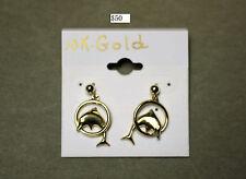 Lovely Dolphin Earrings 10K Gold
