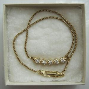 Swarovski Elements Crystal Curved Bar Gold Plate Necklace