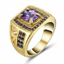 Fashion Amethyst Sapphire 18K yellow Gold Filled Women's Engagement Ring Size 8