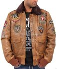 Aviatrix Mens Boys Bugatti Pilot Flying Antique Leather Jacket Bomber Air Force