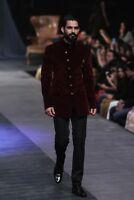 Men's Burgundy Velvet Jacket Six Button Suit Groom Tuxedos Wedding Prom Suits