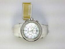 Michael Kors Chronograph Crystal Silicone Ladies Watch White MOP MK5392