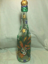 "Handmade Decorative & Designed Bottles ""Madri Gras Time"" 13 1/2""Tall"