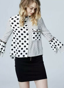 Womens Cream & Black Spotty Long Frill Sleeve Size Large Cropped Collared Shirt