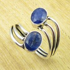 Fabulous Simulated Sapphire TRENDY Ring Size UK R ! Silver Plated Jewelry