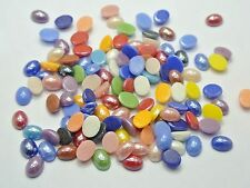 200 Mixed Color Luater AB Oval Flatback Glass Cabochon Ceramic Half Pearl 6X8mm