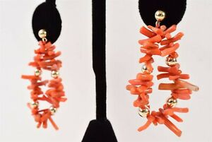 Vintage 14K Gold Yellow Gold Natural Red Branch Coral Drop Dangle Earrings