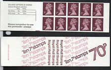 Gb 1977 70p folded booklet Sgfd1A (X875 x 10) booklet mint stamps