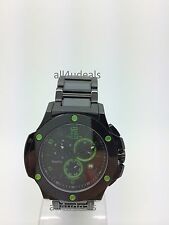 Mens Oniss Black Stainless Ceramic Band Green Accent Chronograph Watch ON612 GN