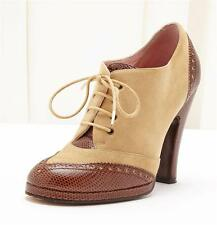 MARC JACOBS Brown+Tan Suede Leather Lace-Up High-Heel Ankle Boot Bootie 6.5-36.5