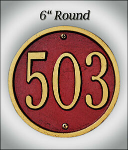 "Whitehall Round 6"" Address Personalized Plaque Sign Marker 17 Color Choices Wall"