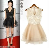 Lolita Gothic Style Chiffon Lace Semi Sheer Dress Ruffle Skirt Black/Cream 3033