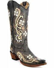 Corral Circle G Women's Floral Embroidered Cowgirl Boot Snip Toe Black 9 M