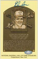 Nolan Ryan Autographed Hall of Fame Plaque Postcard Signed Texas Rangers