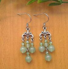 Natural Green AVENTURINE Small Chandelier Dangle Earrings ~Stainless Steel Hooks