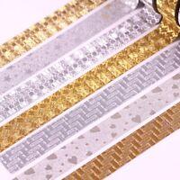 10M Glitter Silver Gold Washi Tape Paper Self Adhesive Sticky Craft Decoration