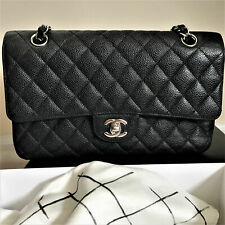 Authentic Chanel Black Caviar Classic 2.55 Double Flap Bag Medium