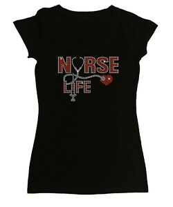 Women's Rhinestone Tight Snug Shirt Nurse Life w/ Stethoscope, Syringe & Heart