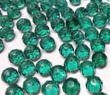 20 perles 8x6mm à facettes en verre vert //2
