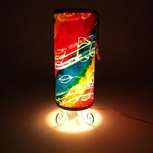 MUSIC THEME LAMP Colorful Hand Painted Paper Shade Rotating Light Show Decor