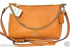 COACH PEBBLED LEATHER CARRIE CROSSBODYSLING BAG HIPSTER ORANGE PEEL NWT F36666
