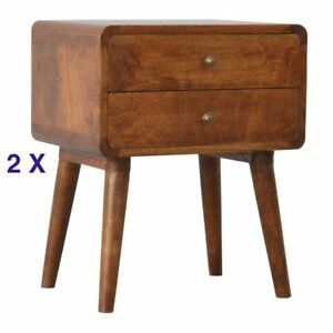 Pair of Mid Century Curved Bedside with Scandinavian Style Legs & Chestnut finis