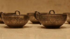 Antique Persian Isfahan set of 6 cup silver 84  handmade Qalam Zani Qajar