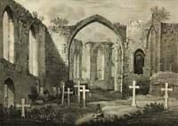 Historische Ansicht der Ruine der St.Nikolai Kirche in Bautzen, Lithographie