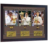 Roger Federer Rafael Nadal Novak Djokovic signed wimbledon autograhed Framed