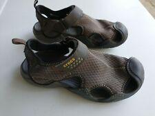 Crocs Mens Sz 9 Swiftwater Mesh Fisherman Deck Sandals Brown 15041 Water Shoes