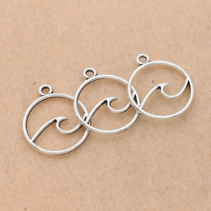 25pcs Antique Silver Wave Charm for Jewelry Making Bracelet Accessories DIY