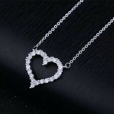 Mothers Day Gift, Sterling Silver Crystal Paved Heart Necklace,Personalised Box