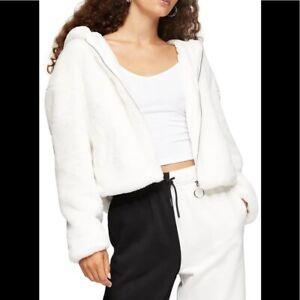 TOPSHOP White Faux Fur Crop Zip Hoodie size S