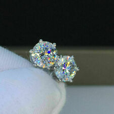 3Ct Round Cut Moissanite Screw Back Solitaire Stud Earring 18K White Gold Finish