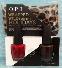 OPI WRAPPED WILD FOR THE HOLIDAYS Gift Set~ Big Apple Red & Muir Muir FREE Scarf