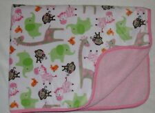 Carters Baby Girl Blanket Pink Jungle Animal Monkey Zebra Giraffe Sherpa