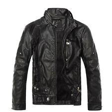 Punk para hombres Imitación Cuero Chaqueta estilo ciclista Moto Calce Ajustado Cremallera Abrigo de Moda de cintura R *