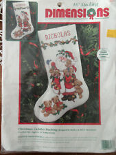 """VTG. 1995 DIMENSIONS 16"""" COUNTED CROSS STITCH KIT CHRISTMAS CUDDLES STOCKING"""