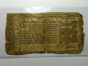 APRIL 10, 1774 1/6 ONE SIXTH OF A DOLLAR MARYLAND COLONIAL CURRENCY