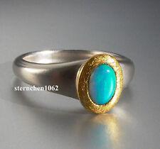 Einzelstück * Ring * 925 Silber * 24 ct. Gold * Opal