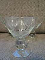 Vintage set of 3 crystal ball stemware etched wheat pattern cocktail glasses
