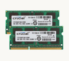 DDR3 1600Mhz 2x 4GB Crucial SODIMM Laptop Memory PC3L-12800S Notebook SDRAM