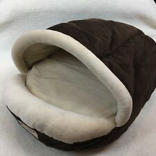 Armarkat Pet Bed Cat Dog Soft Velvet Faux Suede Covered Hooded Mocha Beige